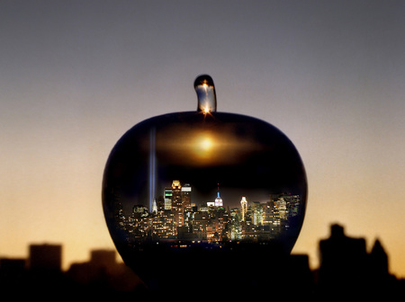 The Big Apple with Memorial Lights